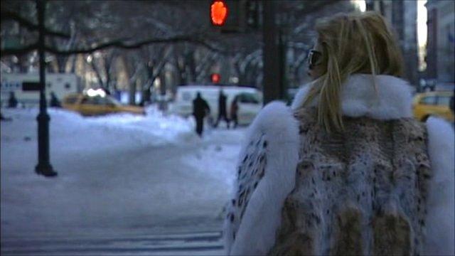 Woman wearing a fur coat