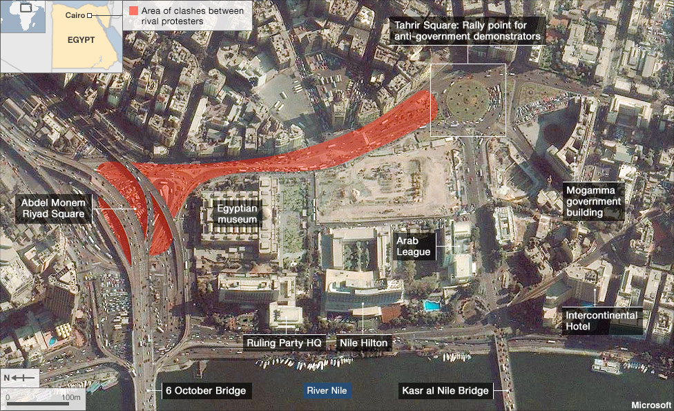 Map showing the Tahrir Square clashes