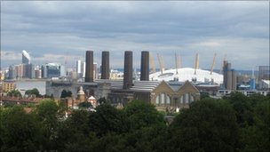 The view across the Thames from Greenwich