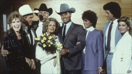 The cast of Dallas in 1984