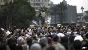 Protesters in Tahrir Square, 5 Feb
