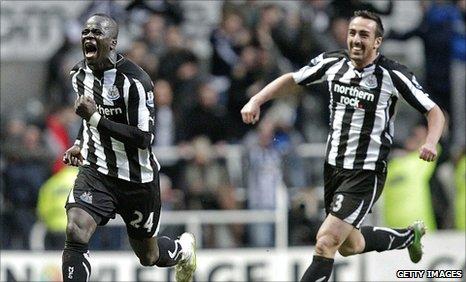 Cheik Tiote (left) celebrates his spectacular equaliser