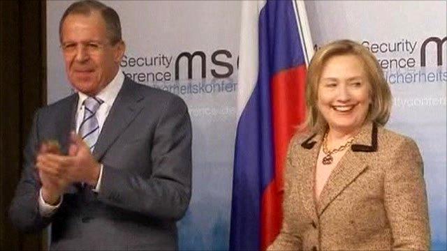 Russian Foreign Minister Sergei Lavrov and US Secretary of State Hillary Clinton