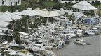 Boats forced on to the shore at the Hinchenbrook Marina in Cardwell, Queensland, on 3 February 2011