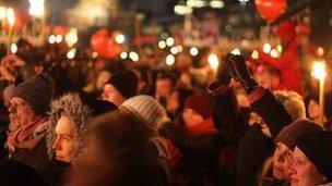 Anti-DPP protestors outside the Danish parliament
