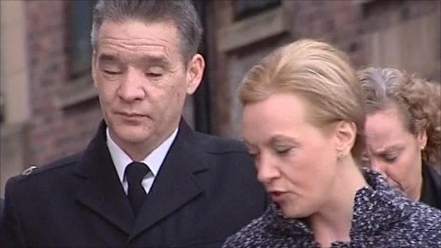 Pc David Rathband arrives at court with his wife