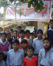 Students outside the Nalanda Public Shiksha Niketan School in Banka