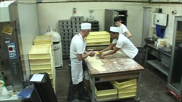 Inside a bakery