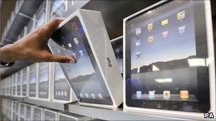 iPads on shelf