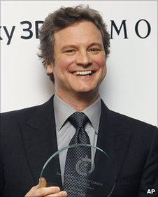 Colin Firth holds the Best Actor Award he collected during the 31st London Film Critics Circle Awards at the BFI