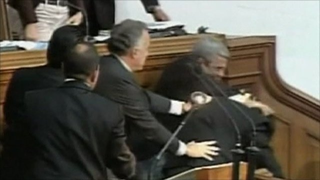 Politicians fighting in Venezuela National Assembly