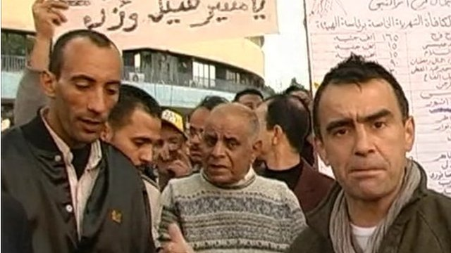 The BBC's Wyre Davies with protesters in Cairo