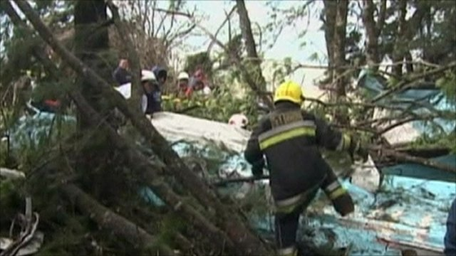 Rescue worker at plane crash scene