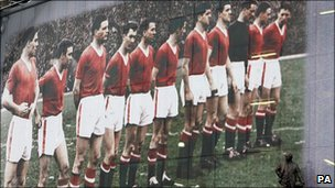 A poster of the Busby Babes marking the 50th anniversary of the disaster