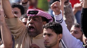 Demonstrators chant in the village of Duraz, outside the capital of Bahrain, Manama, 14 February 2011.