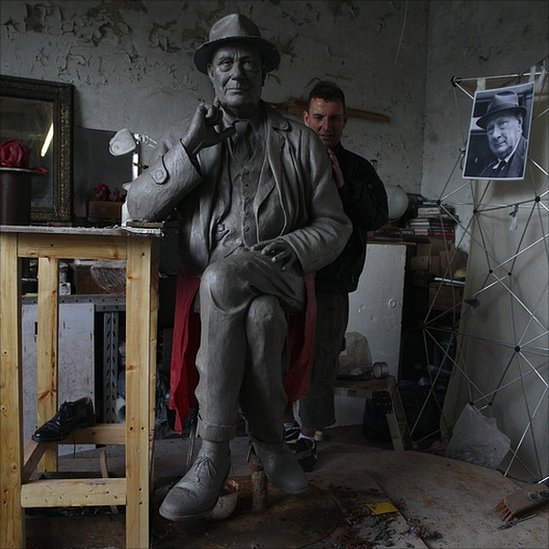 Peter Hodgkinson at work on his sculpture of LS Lowry