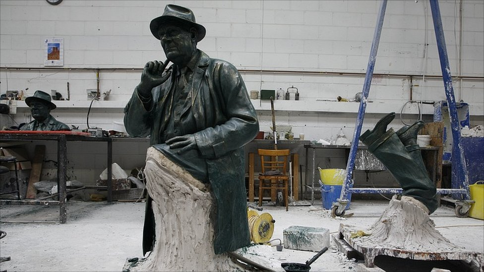 Waxes of Peter Hodgkinson's LS Lowry statue at the foundry