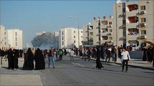 Protests in Sanabis. Photo: Art