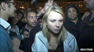 CBS correspondent Lara Logan is pictured in Cairo's Tahrir Square