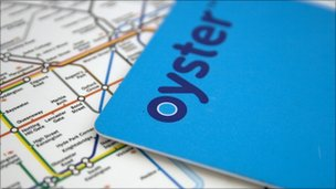 Oyster card on a tube map