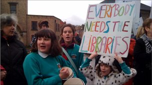 Protest against the closure of Somerset libraries