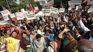 India's main opposition Bharatiya Janata Party supporters shout slogans against Sri Lanka at a protest near the Sri Lankan embassy in New Delhi, India, Wednesday, Feb. 16, 2011.