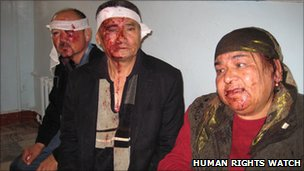 Relatives of an ethnic Uzbek defendant who were attacked by an angry mob when they approached the court building by car before the trial (Human Rights Watch)
