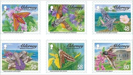 Alderney stamps featuring hawk moths