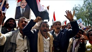 Pro-government supporters demonstrating in the Yemeni capital Sanaa, 16 February 2011