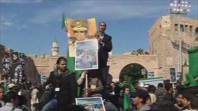 Government supporters in Tripoli