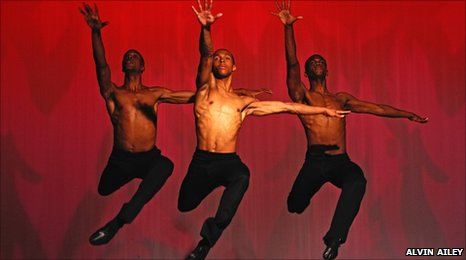 Dancers from dance company Alvin Ailey perform Revelations from the Ailey 2 tour