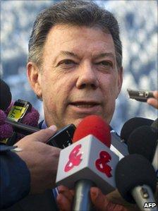 Colombian President Juan Manuel Santos - file photo