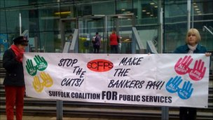 Protesters outside Suffolk County Council offices