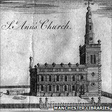 A sketch of St Ann's Church from 1741