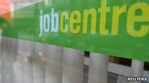 Window of a job centre in central London