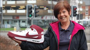 Denise Bostock from Derbyshire police with size 21 shoe