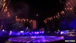 Fireworks explode during opening ceremony for ICC Cricket World Cup in Dhaka