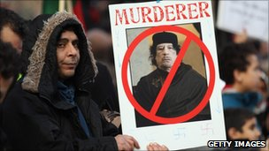 Demonstrators opposed to the regime of Libyan leader Col Muammar Gaddafi gather in Hyde Park on February 17, 2011 in London, England