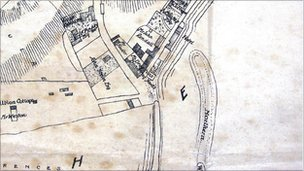 A map showing the yards around the Cobb in 1841 – showing John Rendall's coal merchants