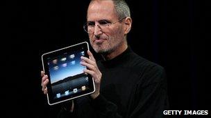 Steve Jobs holding an iPad