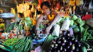A vegetable seller in Manila, Philippines