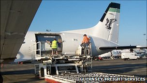 Freight plane at Guernsey Airport