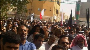 Mourners gather in Sitra. Photo: Anmar