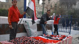 Stall selling Egyptian flags and ribbons