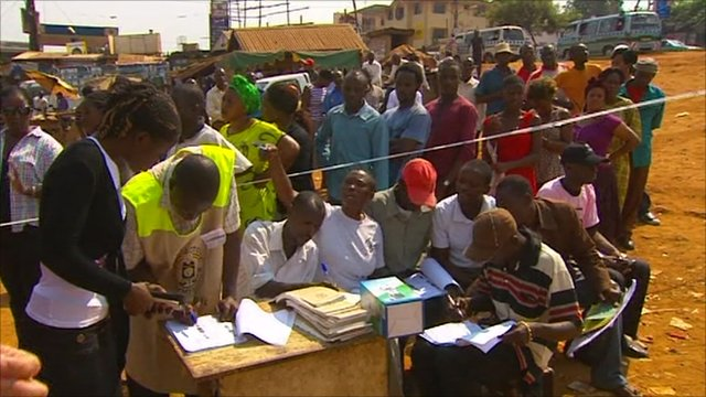 Ugandans at polling station in Kampala