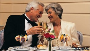 Older couple dining