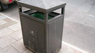 A bin in a street