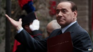 Italian Prime Minister Silvio Berlusconi arrives at the Italian Embassy to the Holy See in Rome, 18 February 2011