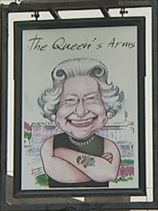 Queen's Arms sign in Acomb