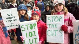 Pupils taking part in Renfrewshire rally